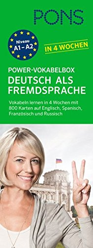 PONS Power-Vokabelbox: Deutsch als Fremdsprache in 4 Wochen - Wortzschatz lernen mit der bewährten Karteikarten-Methode. Mit 800 Vokabelkarten, 1.500 Beispielen & Wendungen und 100 Bildkarten. (Englisch Lernen Spanisch)