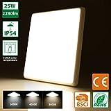 Oeegoo® 25W IP54 led Deckenleuchte Bad 2280lm ersetzt 150W Glühbirne LED Deckenlampe 120°Abstrahlwinkel ideal für Badezimmer Balkon Flur Küche Wohnzimmer 30X30cm (Lichtfarbe einstellbar: 3000K/4000K/5000K)