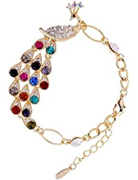 Bold N Elegant Colorful Crystal Rhinestone Peacock Adjustable Bracelet For Girls And Women