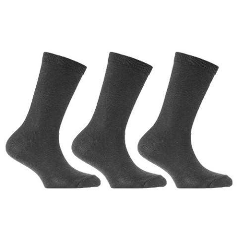 Chaussettes unies (lot de 3 paires) - Enfant unisexe (EUR 26.5-30.5) (Gris d'uniforme scolaire)