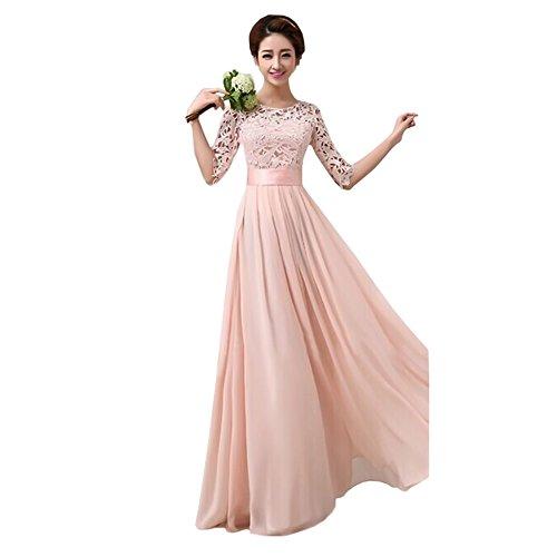 Uranus Damen Spitzen Spleiß Chiffon Cocktail Formell Maxikleid Brautjungfer Hochzeitskleider Rosa (Chiffon Knielangen Kleid)
