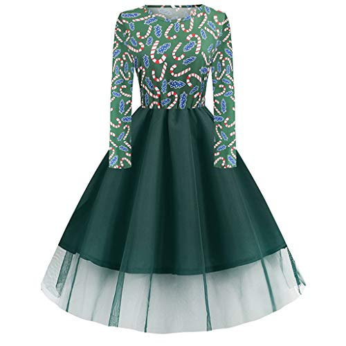 LILIGOD Damen Weihnachtskleider Frauen Vintage Langarm Kleid Elegant 50er Jahre Petticoat Kleider Rockabilly Kleid Christmas Print Cocktailkleider Party Swing Kleid Dress Knielang (Lustige Rundhalsausschnitt Dinosaurier)