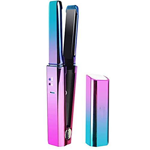 Schnurlose Haarglätter Wiederaufladbarer USB-Mini-Keramik-Turmalin-Glätteisen mit schwimmenden 3D-Platten, tragbar für die Reise Inklusive hitzebeständigem Aufbewahrungsbeutel -