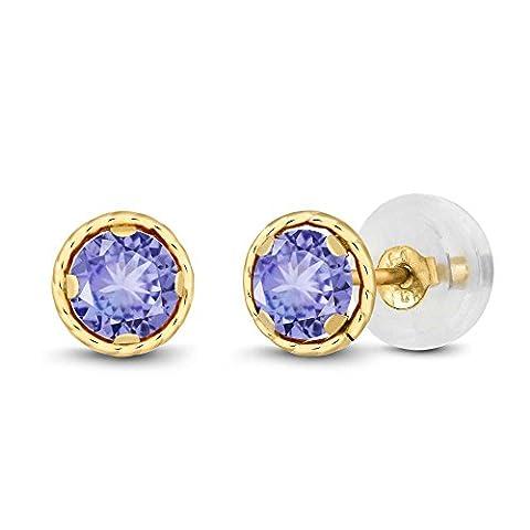 0.60 Ct Round 4mm Blue Tanzanite 14K Yellow Gold Stud Earrings