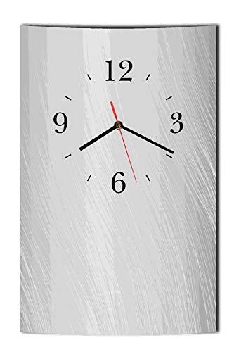 Homeyourself LAUTLOSE Designer Wanduhr Wellen modern grau Uhr hochkant rechteckig Bild Dekoschild Bild 25 x 39 cm