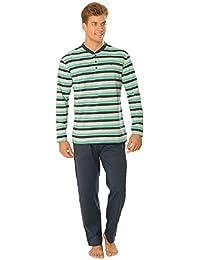 Pijama de Caballero | Pijama de Hombre Moderno, de Entretiempo, Manga Larga, a Rayas | Ropa de Dormir para Hombre - Punto, 100% algodón