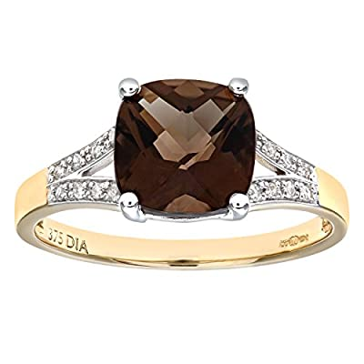 Naava 9ct Yellow Gold Cushion Cut Smokey Ring Wth Diamond Shoulders