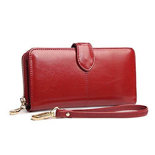 Mode Damen Geldbeutel Leder Geldbörse Lang Portemonnaie Groß Kapazität Mit Handschlaufe,Ein Perfektes Geschenk Rotwein