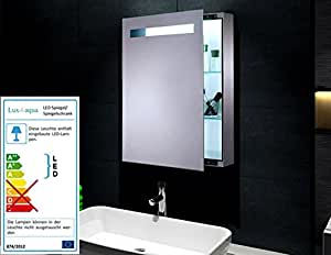 katja mini spiegelschrank mit metal korpus led beleuchtung 420 lumen 70x45cm k che. Black Bedroom Furniture Sets. Home Design Ideas