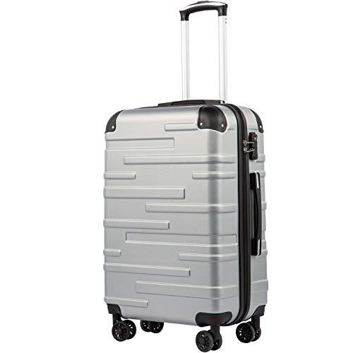COOLIFE Hartschalen-Koffer Rollkoffer Reisekoffer Vergrößerbares Gepäck (Nur Großer Koffer Erweiterbar) ABS Material mit TSA-Schloss und 4 Rollen(Silber, Mittelgroßer Koffer)