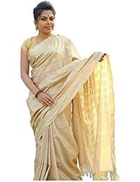 The Wardrobe Women's Bhagalpuri Slik Saree(TW001_Golden_Freesize) …