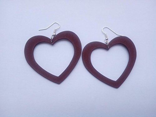 Graziosi orecchini a forma di cuore in legno color marrone
