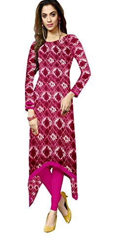 Kurti (Leriya Fashion Women\'s Creap 3/4 sleeve Straight Pink Color Women Kurti)