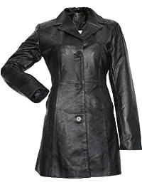 Damen Ledermantel Trenchcoat echtleder Mantel aus Lammnappa Leder Schwarz