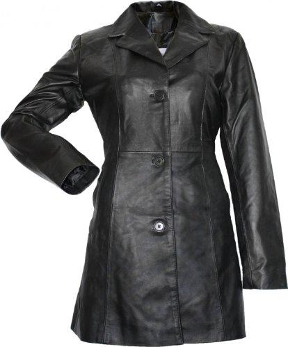 Damen Ledermantel Trenchcoat echtleder Mantel aus Lammnappa Leder Schwarz, Größe:40