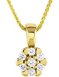 Diamond Line Goldkette mit Diamant-Anhänger 585 Gold mit 7 Brillianten 0.15 ct. lupenrein