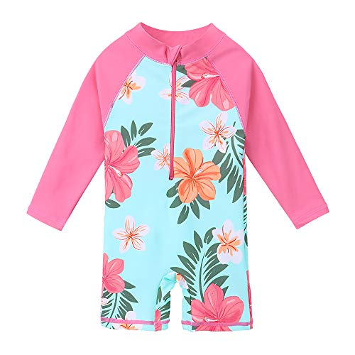 bafb708d HUAANIUE Girls UPF 50+ UV One Piece Swimwear Kids Bodysuit Beachwear Ziper  Surfing Pink Swimming