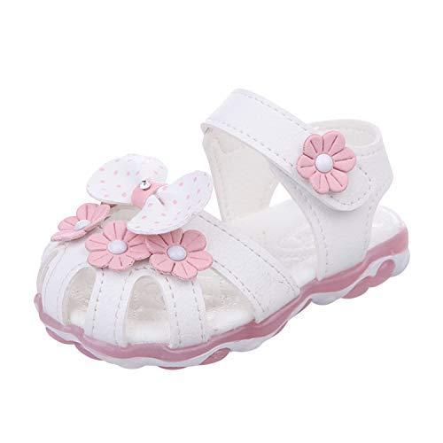 YASSON Baby Mädchen Sandalen Neugeborene Blumen Bowknot Schuhe Lauflernschuhe Beleuchtet Prinzessin Schuhe mit weichen Sohlen