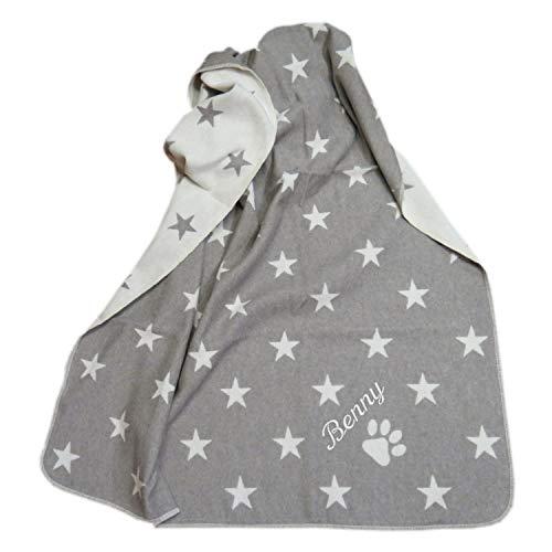 Fussenegger Haustierdecke mit Wunsch-Name bestickt 100 cm x 140 cm Sterne allover rauch grau Hundedecke mit Namen personalisiert - Grau Plaid Flanell