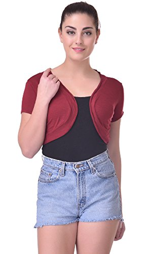 Trend18 Viscose Maroon Small shrug - Maroon X-Small  available at amazon for Rs.199
