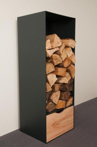 bachmayer Holzaufbewahrung Höhe 105 Breite 40cm, Design-Möbel mit Schubfront Buche-Carasso-Dekor, Metall anthrazit