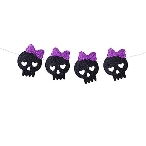 Tinksky Halloween Props Ornaments Black Glittering Squeleton Skull Shape Bunting Bannières Garlands Accueil Décoration de fête Bannière d'Halloween