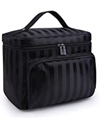 A Type-Black : DRQ Large Cosmetic Bags-Multifunction Portable Travel Toiletry Bag Cosmetic Makeup Bags With Mirror...