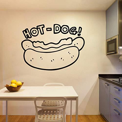ZJfong 42x52 cm hot dog Aufkleber Dekoration Nordischen Stil Restaurant Dekoration Vinyl Wandtattoos Raumdekoration (Hot Dog Dekorationen)