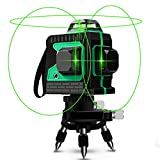 Livelli laser Linee, Careslong Livella laser Verde 25m, Autolivellante 3D 12 Linee Orientabile a 3x360° Orizzontale e Verticale Cross Linea Fascio, IP54 Impermeabile Con Treppiede e 2 Batterie Livello
