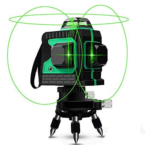 Niveaiu Laser, Careslong 12 lignes à nivellement automatique 3 * 360 croix horizontales et verticales Ligne de faisceau laser verte IP54 étanche Ligne de nivellement et d'alignement -Moins que 5nw
