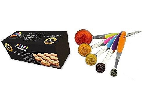 Lot de 5 cuillères à mesurer en acier inoxydable avec boîte cadeau de luxe + séparateur d'œuf gratuit Mesures US et métriques gravées