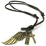 Daesar Edelstahl Halskette Herren Anhänger Braun Gold Leder Halskette Cord Angel Flügel Kreuz Halskette