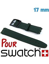 My-Reloj de pulsera, diseño de reloj, color verde, Tamaño: 17 mm pulsera Material: piel y cierre de agalla-Contenido: 1-Reloj de pulsera Swatch