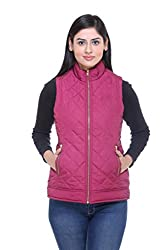 Trufit Sleeveless Solid Womens Plum Quilted Golden Zip Polyetser Bomber Polyfill jacket