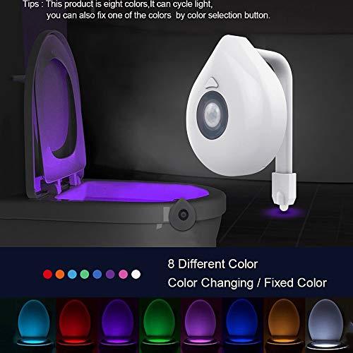 8 Unzen Verlassen (ZUEN LED Toilettensitz Nachtlicht Bewegungsmelder WC-Licht Echt 8-farbige austauschbare Lampe AAA Batteriebetriebene Toilettenbeleuchtung Hintergrundbeleuchtung)