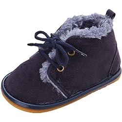 GenialES Patucos Botitas con Forro Polar para Bebé Calzado para Bebe Primeros Pasos Suaves 3 a 12 Meses, Azul Oscuro, Talla 11cm
