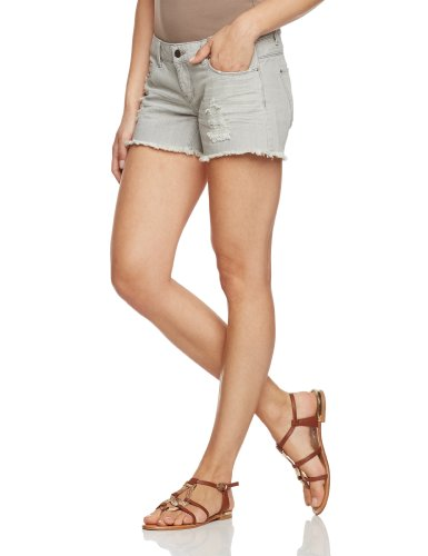 ONLY Damen Jeans Short Normaler Bund 15075988/CORAL LOW DENIM SHORTS, Gr. 29, Grau (DENIM Wash:BJ1831)