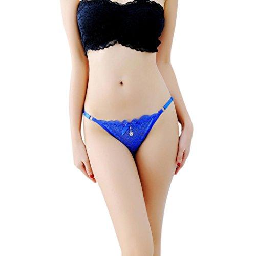 SUCES Frauen Unterwäsche Spitze Thong Massage Versuchung Dessous Intimates Gstring Pant Verstellbare Strings für Frauen mit Spitze Ribbon Fashion G-String Panties