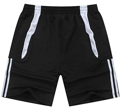 jogginghose herren mit reißverschluss kurz Tunnelzug Sport shorts Tunnelzug Running Joggingshorts Mit Elastische Taille Schwarz M (Herren-elastische Taille Shorts)