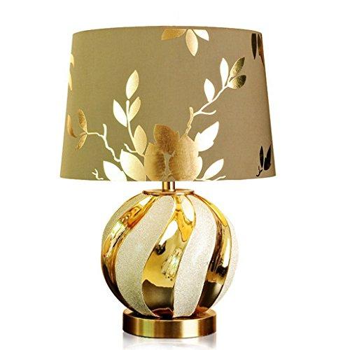 LILY European-Style Keramik Tischlampe - Gold Schlafzimmer Nachttisch Dimmable Luxus Wohnzimmer Studie E27 * 1 (Color : Push button-47 * 32) - Seide Schatten Tischleuchte