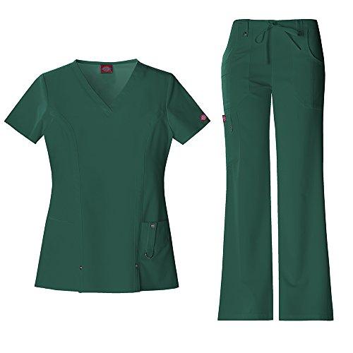 Xtreme Stretch Damen 82851 V-Neck Top & 82011 Kordelhose Medical Uniform Scrub Set (Hunter - Small) (Uniform-top Medical)