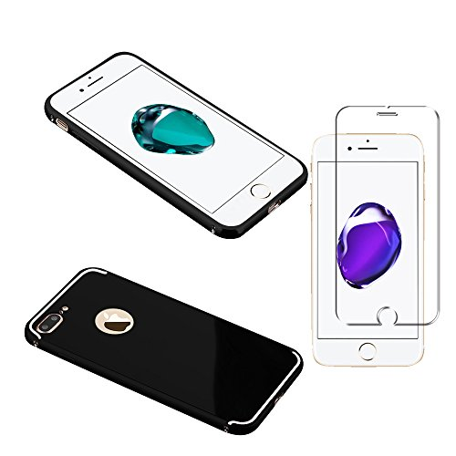 Minto Luxus Aluminium Metall Spiegelhülle Schutzhülle + Panzerglasfolie iPhone 5 / 5S / SE Spiegel PC Rückseite Case Cover Hülle Gold + Metall Bumper Rahmen Echtglas Hartglas Schutzfolie 9H Schwarz -i8+