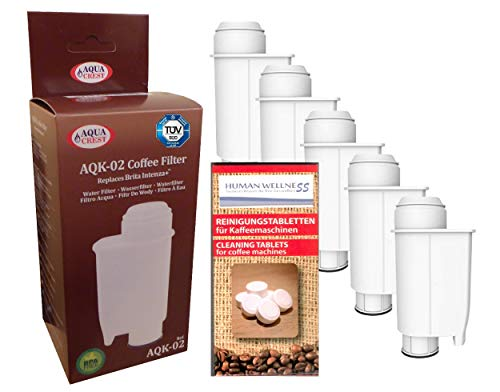 Human-Wellness 5 x Wasserfilter AQK-02 ersetzt Brita Intenza+ Saeco CA6702/00 *Qualität* für...