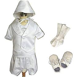 7pcs de manga corta Baby Boy satén bautizo traje de bautizo con Bonnet 0684b blanco roto blanco Talla:S (0-6months)