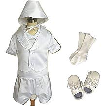 7pcs de manga corta Baby Boy satén bautizo traje de bautizo con Bonnet 0684b
