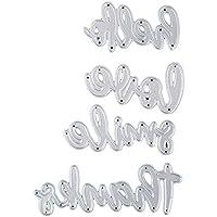 4 piezas de plantillas para fondant de manualidades con palabras inglesas para manualidades, para álbumes