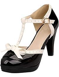 3cd18e3de921 YE Escarpin Talon Haut Plateforme Mary Jane Boucle Cheville Rockabilly Ete  Femme Vernis Noeud Chaussure Cosplay