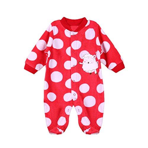 QinMM Neugeborenen Kleinkind Baby Jungen Mädchen Cartoon Tier Strampler Overall Outfits (6M, Rot A) (Tommy Herren-creme Hilfiger)