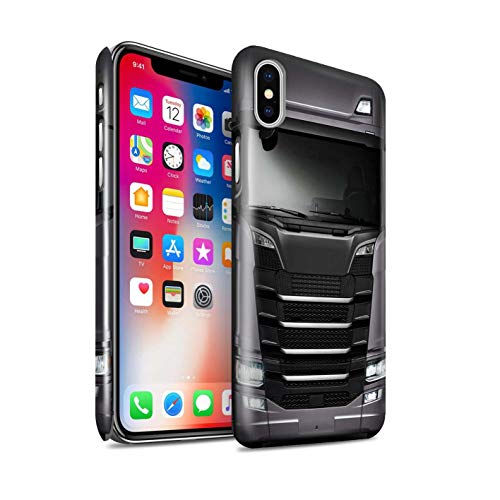 eSwish Glanz Snap-On Hülle/Case für Apple iPhone XS/Grau Silber Muster/LKW HGV Euro Kabine Vorbei Kollektion