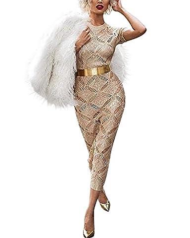 GIKIM Women's Sexy Elegant Knit Dress Mesh Bodycon Clubwear Midi Dress Gold M